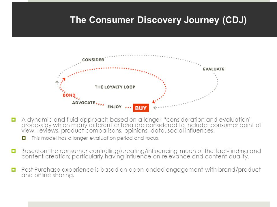 The Consumer Discovery Journey (CDJ)  A dynamic and fluid approach based on a longer consideration and evaluation process by which many different criteria are considered to include: consumer point of view, reviews, product comparisons, opinions, data, social influences.