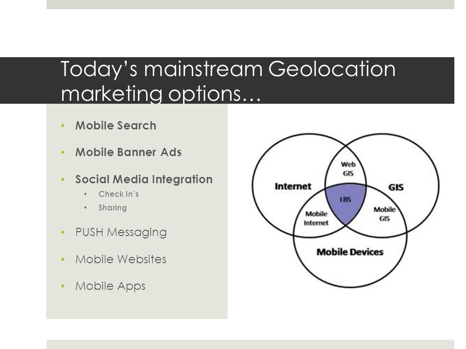 Today's mainstream Geolocation marketing options… Mobile Search Mobile Banner Ads Social Media Integration Check In's Sharing PUSH Messaging Mobile Websites Mobile Apps