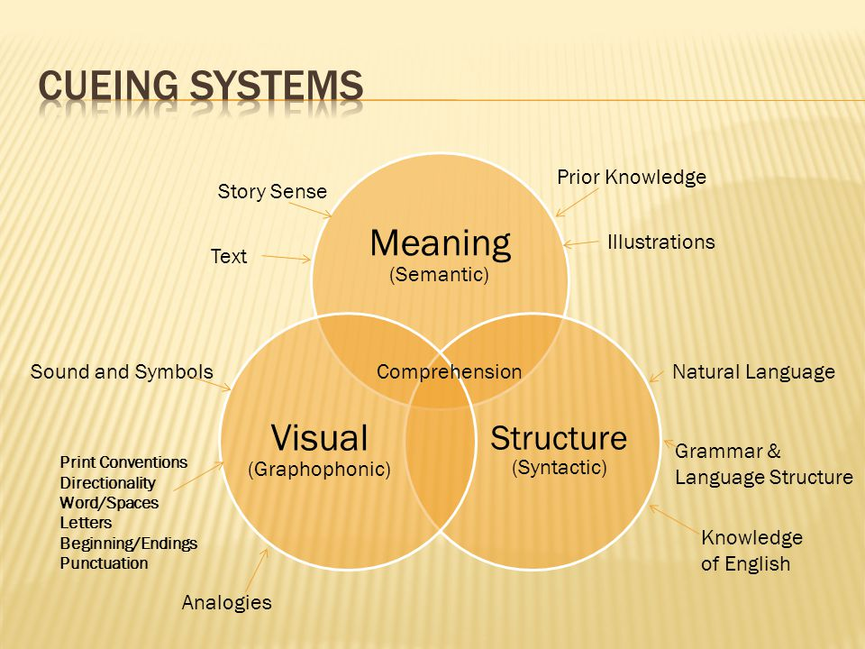 Meaning (Semantic) Structure (Syntactic) Visual (Graphophonic) Comprehension Story Sense Prior Knowledge Text Illustrations Sound and Symbols Analogies Print Conventions Directionality Word/Spaces Letters Beginning/Endings Punctuation Natural Language Grammar & Language Structure Knowledge of English