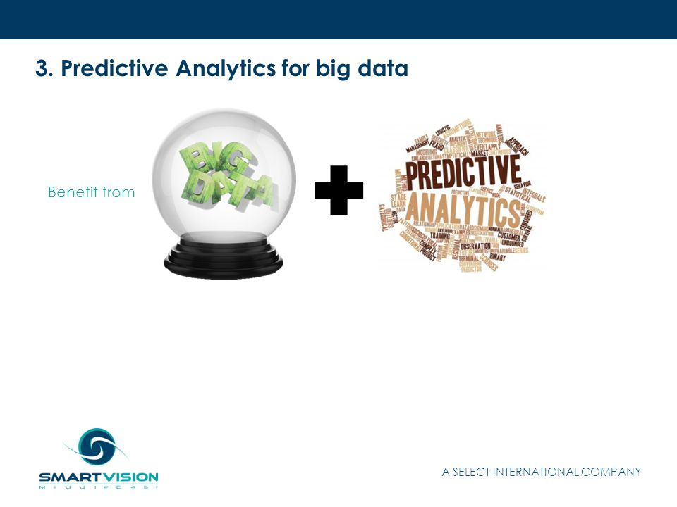 3. Predictive Analytics for big data A SELECT INTERNATIONAL COMPANY Benefit from