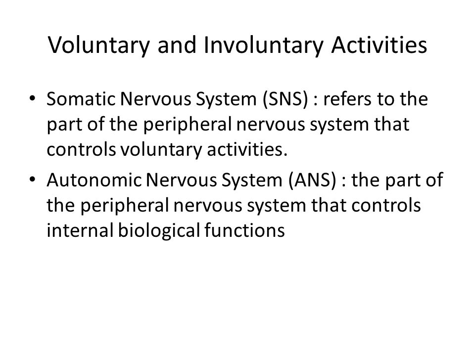 Voluntary and Involuntary Activities Somatic Nervous System (SNS) : refers to the part of the peripheral nervous system that controls voluntary activities.