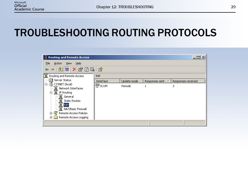 Chapter 12: TROUBLESHOOTING29 TROUBLESHOOTING ROUTING PROTOCOLS