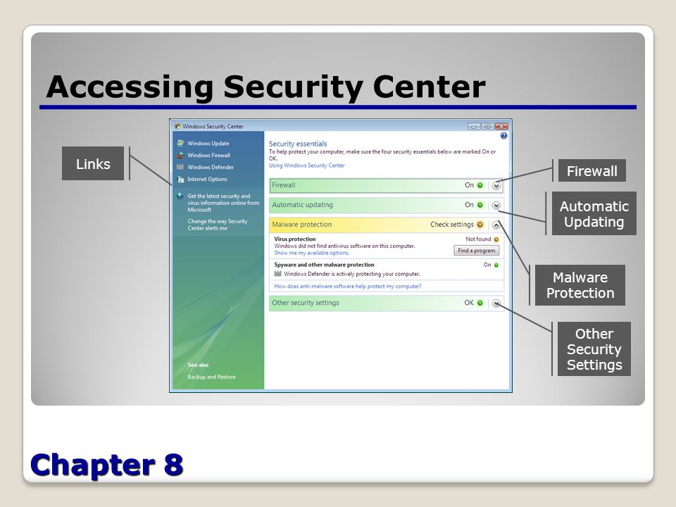 Chapter 8 Accessing Security Center Links Firewall Automatic Updating Malware Protection Other Security Settings