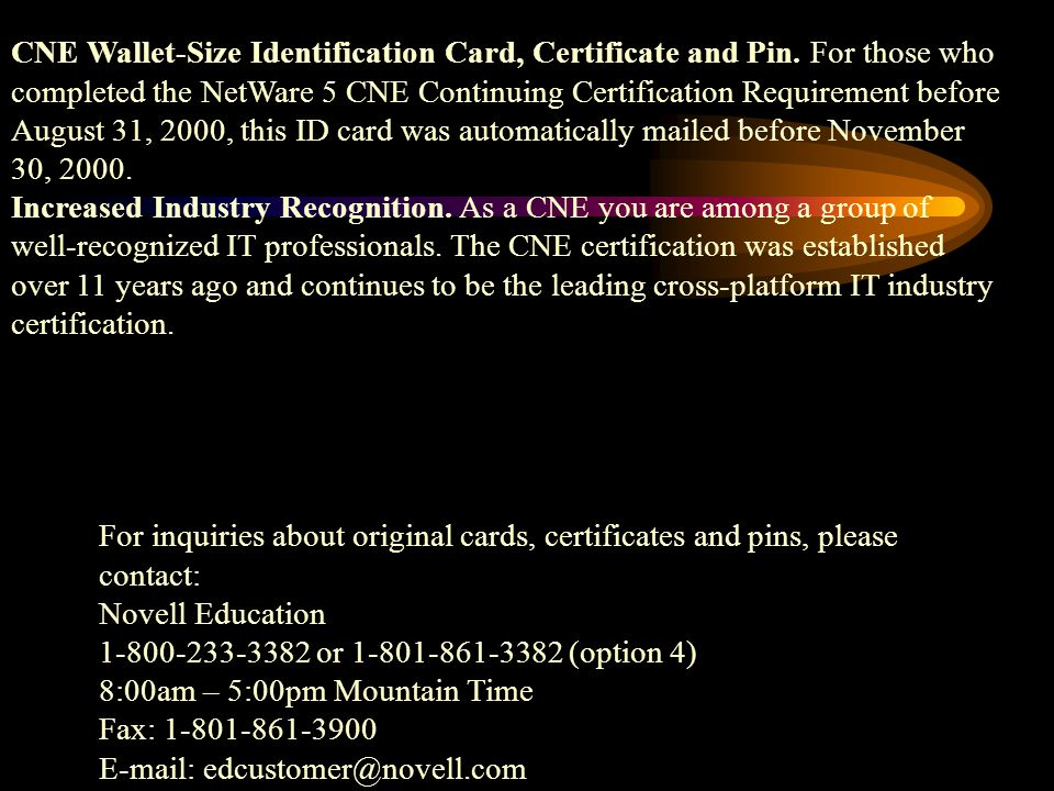 """It all starts at """"CNA"""" as Certified Novell Administrator. Then it ..."""