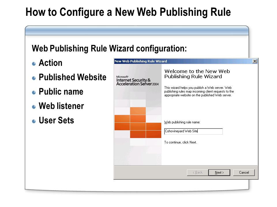How to Configure a New Web Publishing Rule Web Publishing Rule Wizard configuration: Action Published Website Public name Web listener User Sets