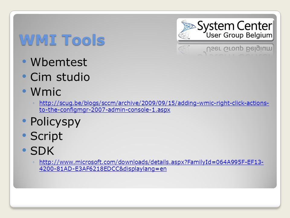 WMI For the System Center Configuration manager 2007