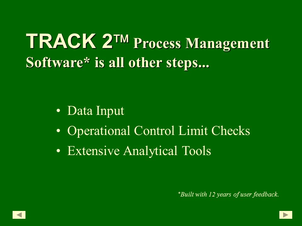 Extensive Analytical Tools TRACK 2  Process Management Software* is all other steps...