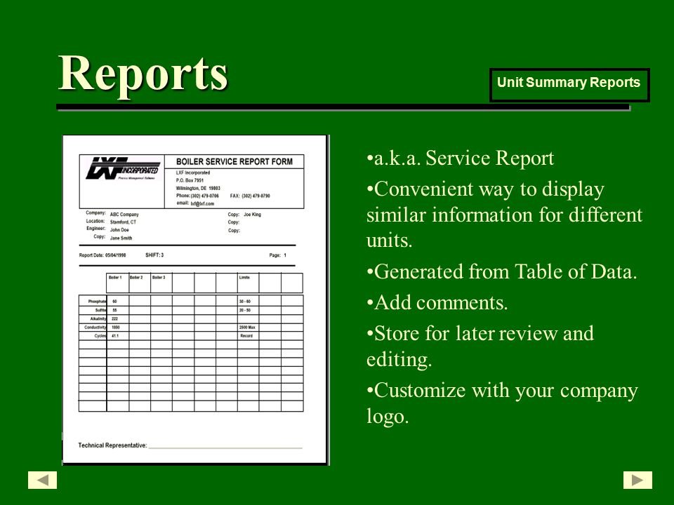 Reports Unit Summary Reports a.k.a.