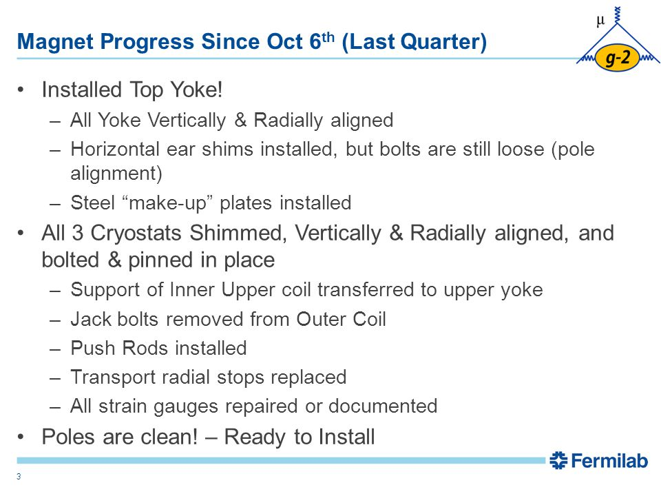 Magnet Progress Since Oct 6 th (Last Quarter) Installed Top Yoke.