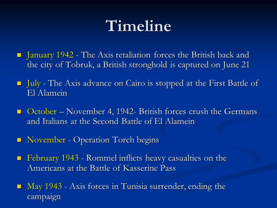 Timeline January The Axis retaliation forces the British back and the city of Tobruk, a British stronghold is captured on June 21 January The Axis retaliation forces the British back and the city of Tobruk, a British stronghold is captured on June 21 July - The Axis advance on Cairo is stopped at the First Battle of El Alamein July - The Axis advance on Cairo is stopped at the First Battle of El Alamein October – November 4, British forces crush the Germans and Italians at the Second Battle of El Alamein October – November 4, British forces crush the Germans and Italians at the Second Battle of El Alamein November - Operation Torch begins November - Operation Torch begins February Rommel inflicts heavy casualties on the Americans at the Battle of Kasserine Pass February Rommel inflicts heavy casualties on the Americans at the Battle of Kasserine Pass May Axis forces in Tunisia surrender, ending the campaign May Axis forces in Tunisia surrender, ending the campaign