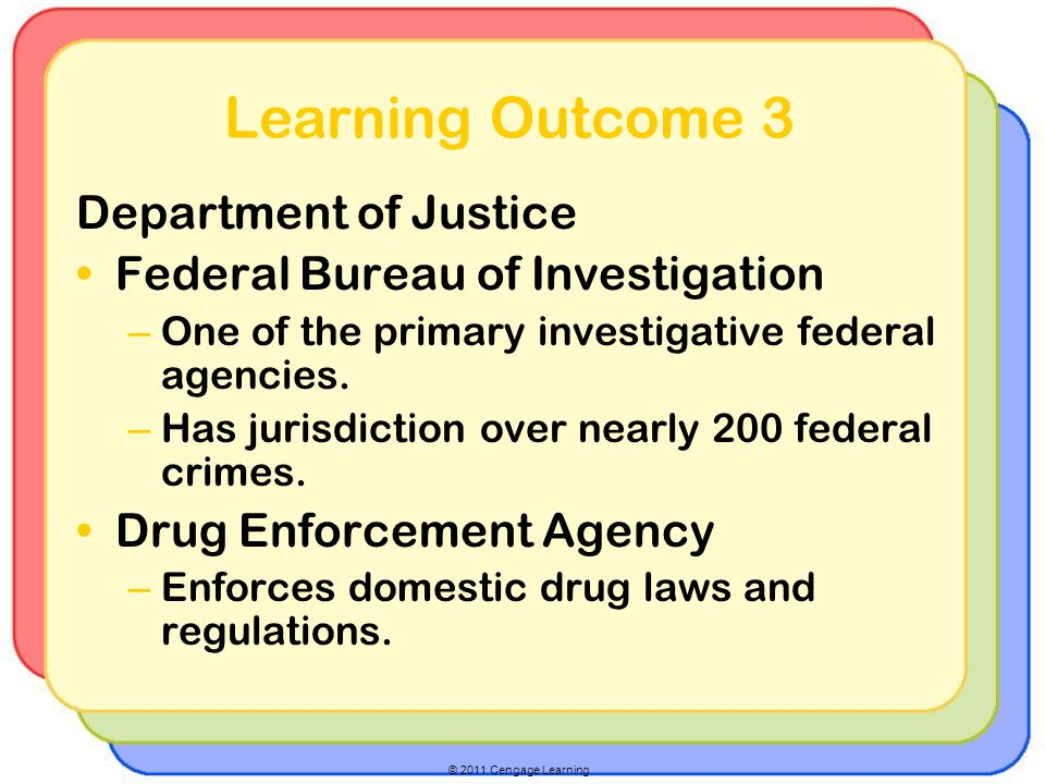 © 2011 Cengage Learning Learning Outcome 3 Department of Justice Federal Bureau of Investigation – One of the primary investigative federal agencies.