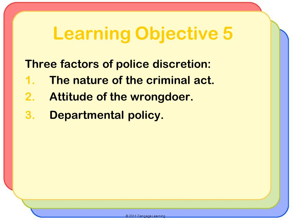 © 2011 Cengage Learning Learning Objective 5 Three factors of police discretion: 1.The nature of the criminal act.