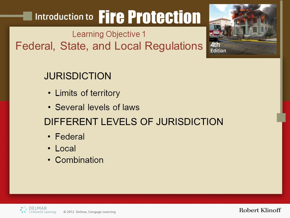 JURISDICTION Limits of territory Several levels of laws DIFFERENT LEVELS OF JURISDICTION Federal Local Combination Learning Objective 1 Federal, State, and Local Regulations