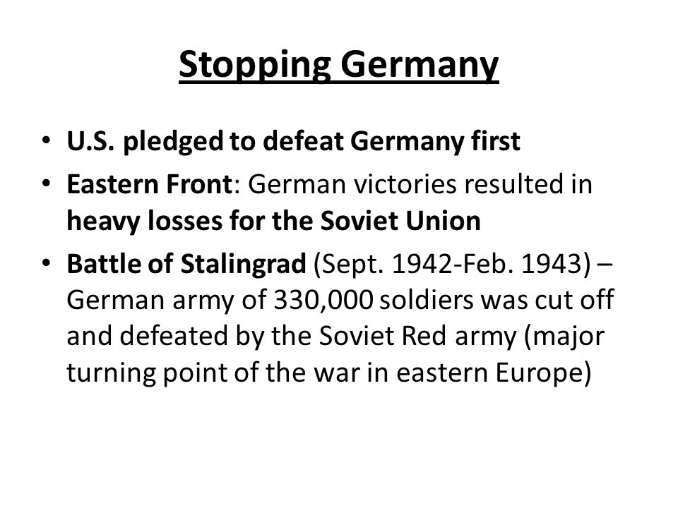 Stopping Germany U.S.