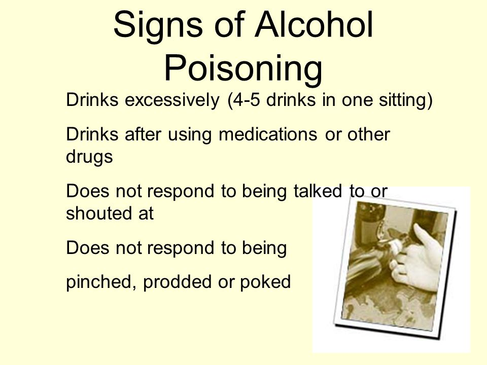 Signs of Alcohol Poisoning Drinks excessively (4-5 drinks in one sitting) Drinks after using medications or other drugs Does not respond to being talked to or shouted at Does not respond to being pinched, prodded or poked