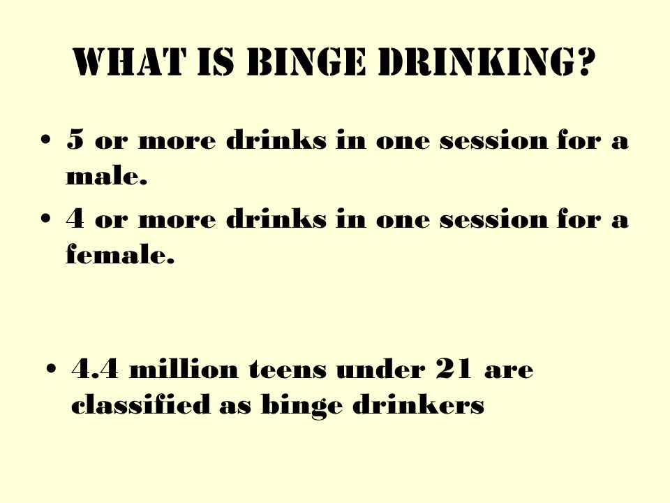 What is Binge Drinking. 5 or more drinks in one session for a male.