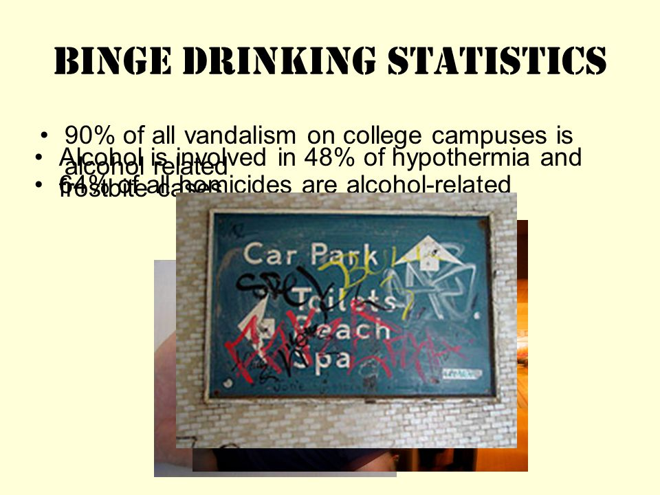 Binge Drinking Statistics 90% of all vandalism on college campuses is alcohol related Alcohol is involved in 48% of hypothermia and frostbite cases.