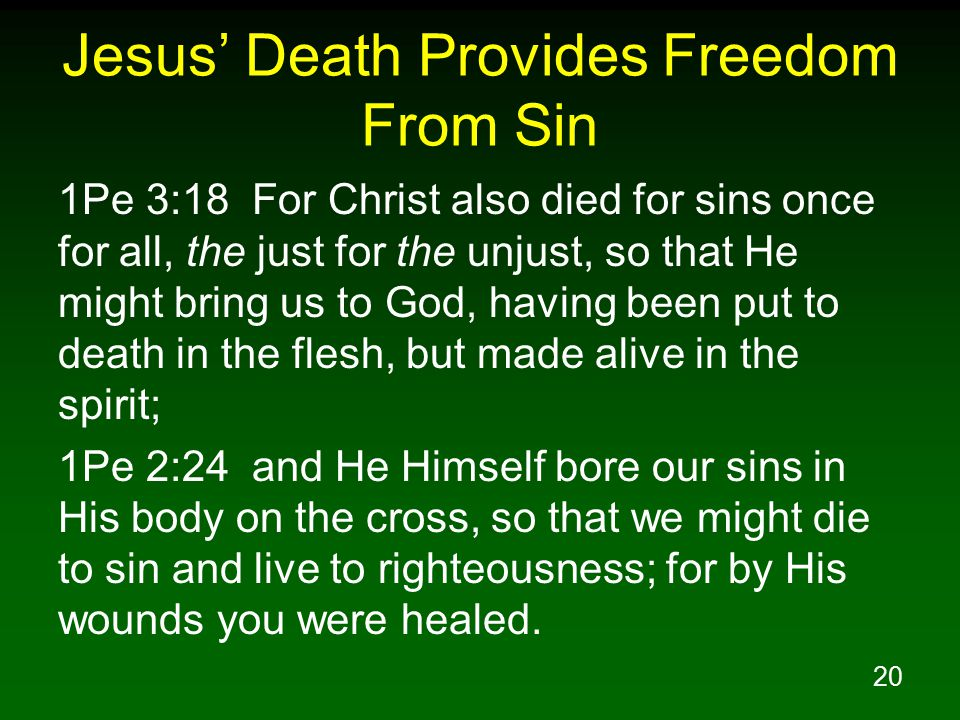 20 Jesus' Death Provides Freedom From Sin 1Pe 3:18 For Christ also died for sins once for all, the just for the unjust, so that He might bring us to God, having been put to death in the flesh, but made alive in the spirit; 1Pe 2:24 and He Himself bore our sins in His body on the cross, so that we might die to sin and live to righteousness; for by His wounds you were healed.