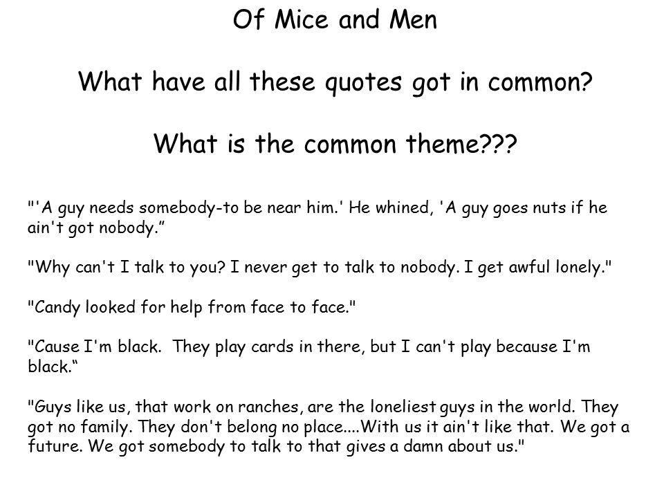 Of Mice And Men What Have All These Quotes Got In Common What Is