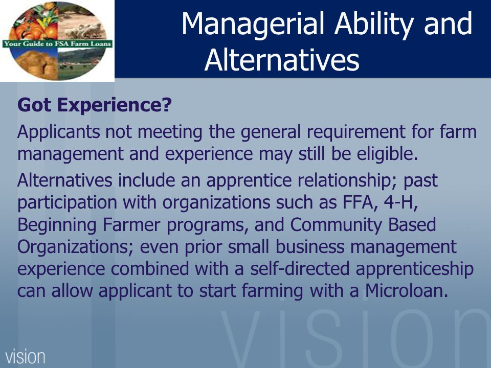 Managerial Ability and Alternatives Got Experience.