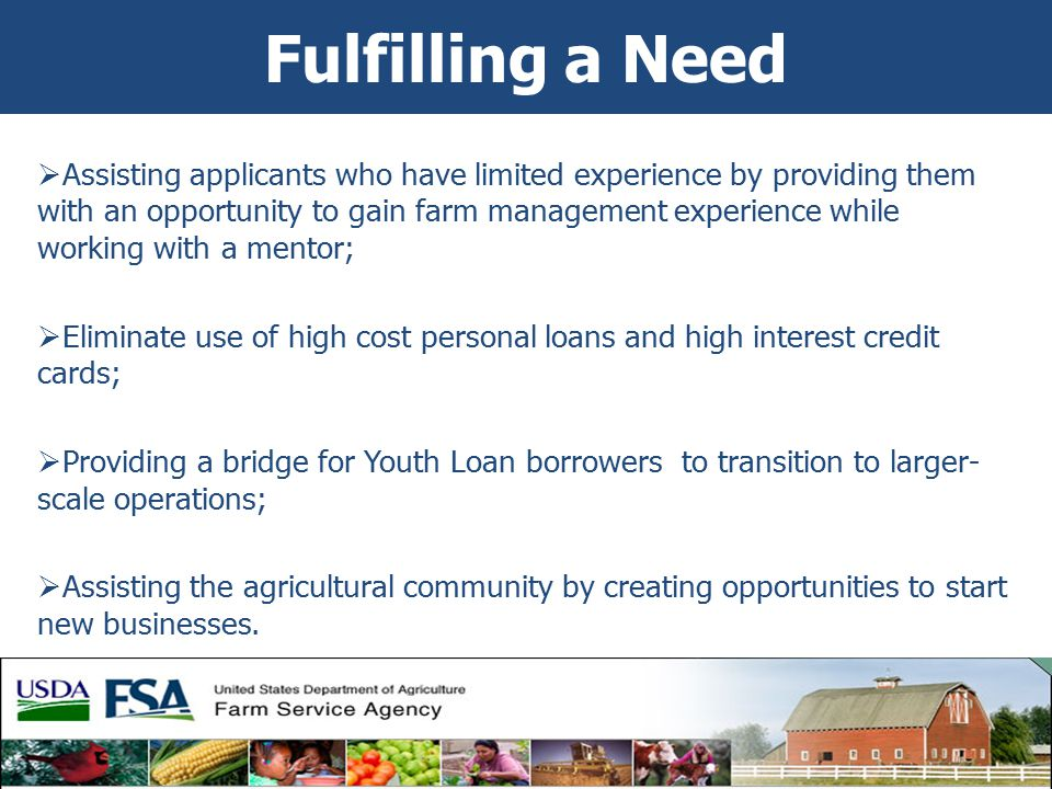 Fulfilling a Need  Assisting applicants who have limited experience by providing them with an opportunity to gain farm management experience while working with a mentor;  Eliminate use of high cost personal loans and high interest credit cards;  Providing a bridge for Youth Loan borrowers to transition to larger- scale operations;  Assisting the agricultural community by creating opportunities to start new businesses.