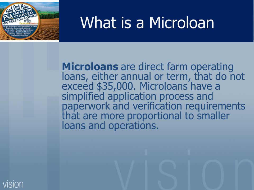 What is a Microloan Microloans are direct farm operating loans, either annual or term, that do not exceed $35,000.