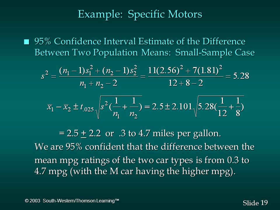 19 Slide © 2003 South-Western/Thomson Learning™ n 95% Confidence Interval Estimate of the Difference Between Two Population Means: Small-Sample Case = or.3 to 4.7 miles per gallon.