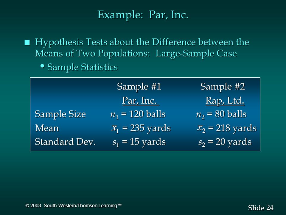 24 Slide © 2003 South-Western/Thomson Learning™ Example: Par, Inc.