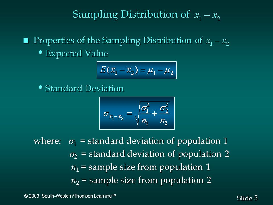 5 5 Slide © 2003 South-Western/Thomson Learning™ n Properties of the Sampling Distribution of Expected Value Expected Value Standard Deviation Standard Deviation where:  1 = standard deviation of population 1  2 = standard deviation of population 2  2 = standard deviation of population 2 n 1 = sample size from population 1 n 1 = sample size from population 1 n 2 = sample size from population 2 n 2 = sample size from population 2 Sampling Distribution of
