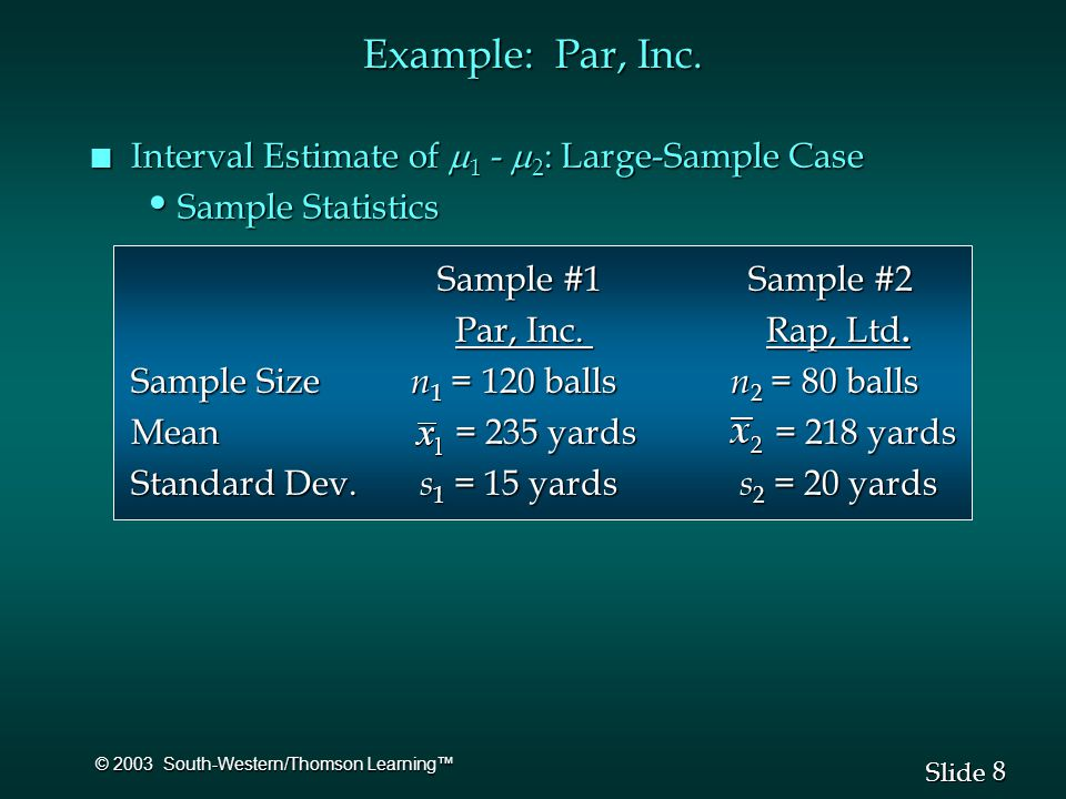 8 8 Slide © 2003 South-Western/Thomson Learning™ Example: Par, Inc.