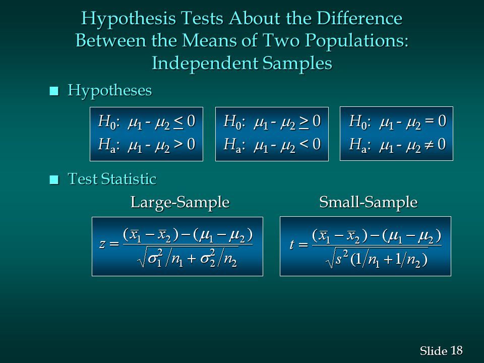 18 Slide Hypothesis Tests About the Difference Between the Means of Two Populations: Independent Samples n Hypotheses H 0 :  1 -  2 0 H 0 :  1 -  2 = 0 H a :  1 -  2 > 0 H a :  1 -  2 0 H a :  1 -  2 < 0 H a :  1 -  2  0 n Test Statistic Large-Sample Small-Sample Large-Sample Small-Sample