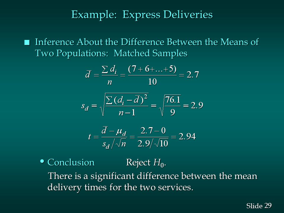 29 Slide n Inference About the Difference Between the Means of Two Populations: Matched Samples Conclusion Reject H 0.