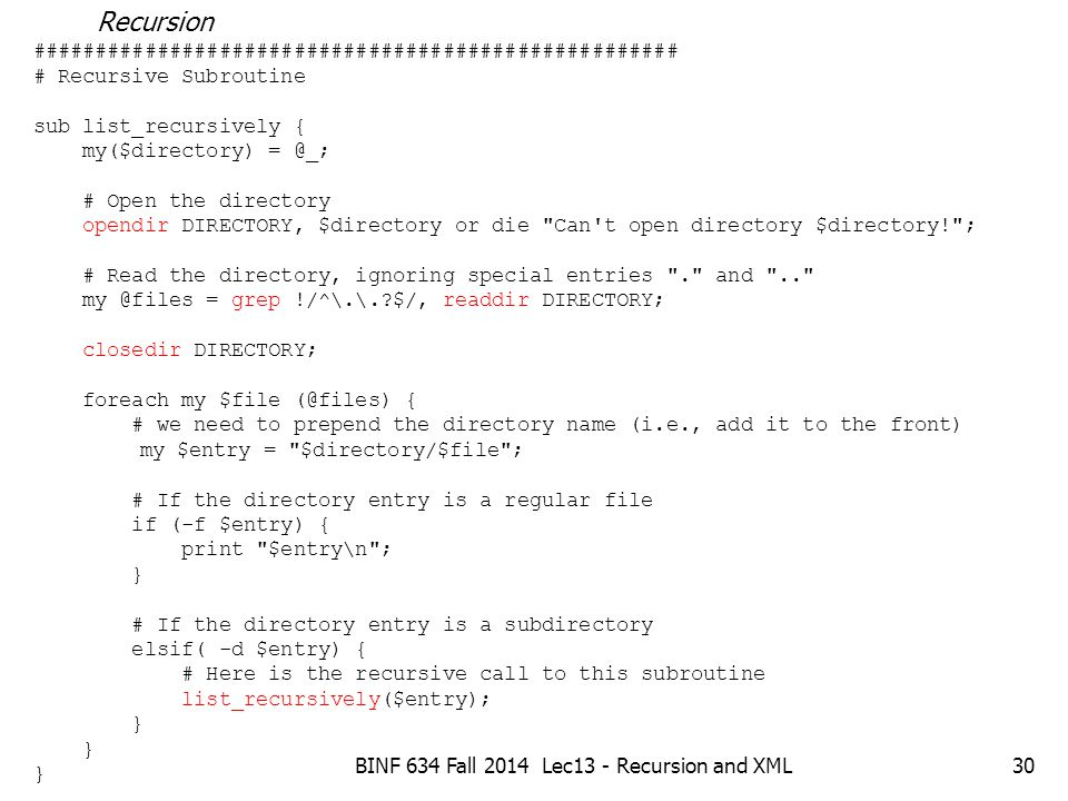 BINF 634 Fall 2014 Lec13 - Recursion and XML1 Topics Adding links to