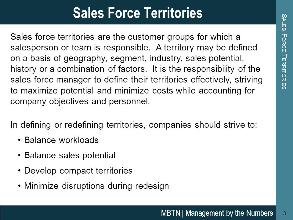 Sales force territories are the customer groups for which a salesperson or team is responsible.