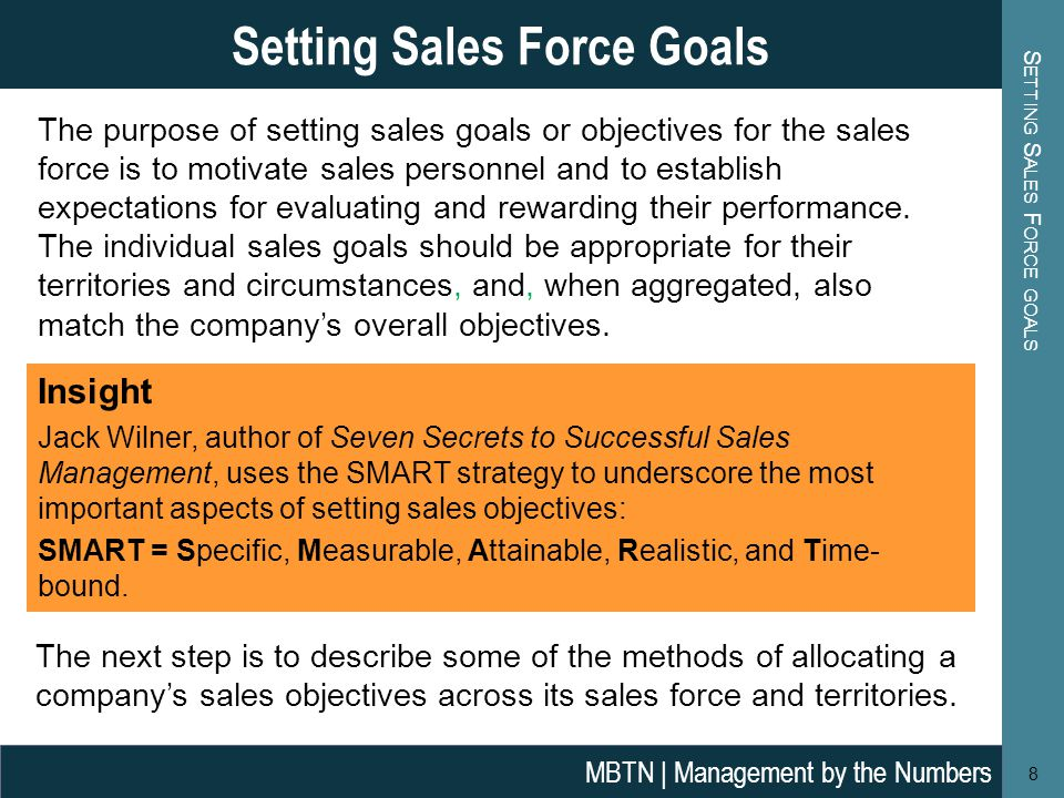 The purpose of setting sales goals or objectives for the sales force is to motivate sales personnel and to establish expectations for evaluating and rewarding their performance.