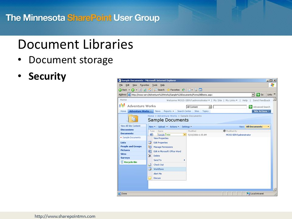 Document storage Security Document Libraries