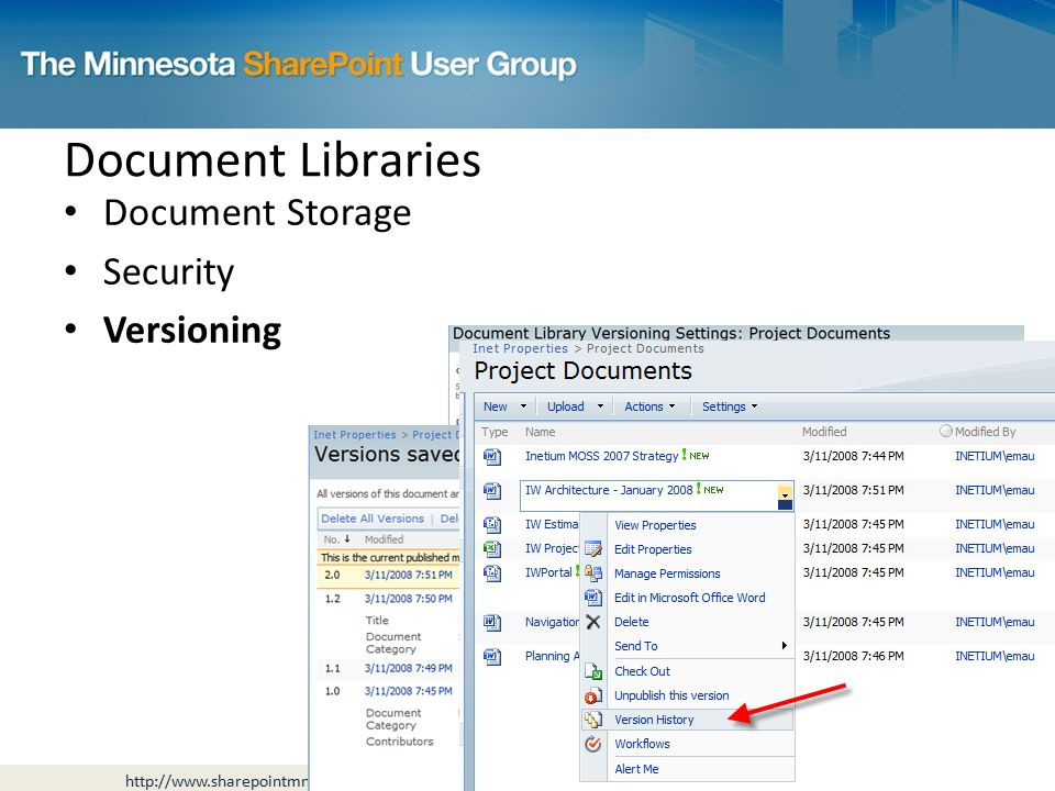 Document Storage Security Versioning Document Libraries