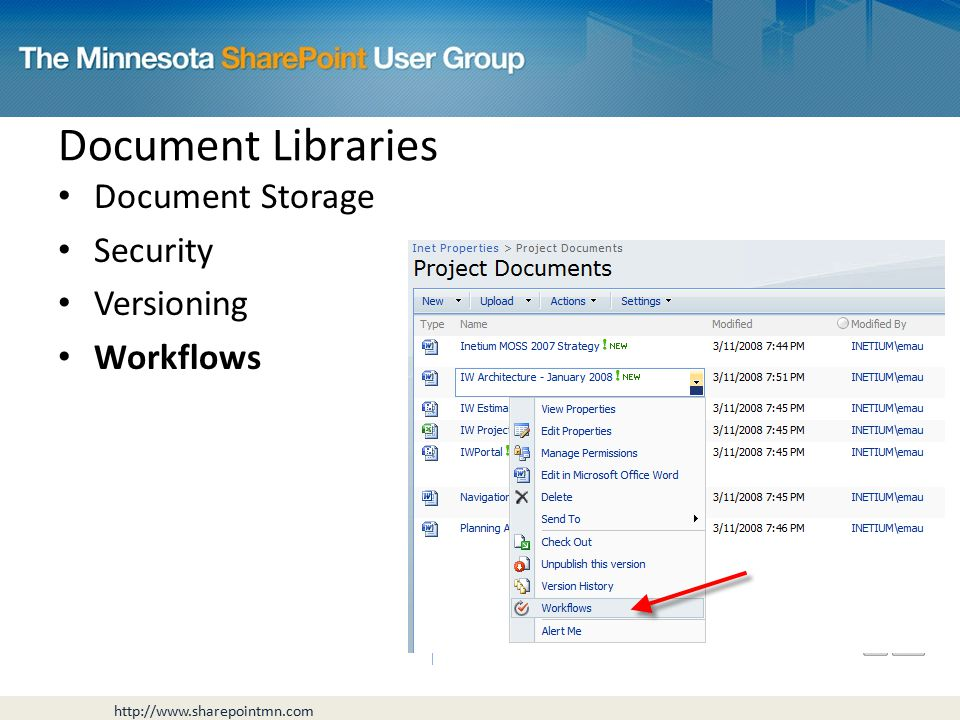 Document Storage Security Versioning Workflows Document Libraries