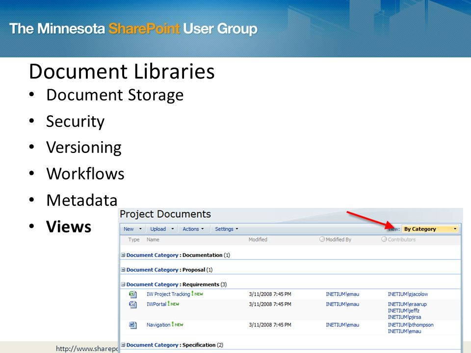 Document Storage Security Versioning Workflows Metadata Views Document Libraries