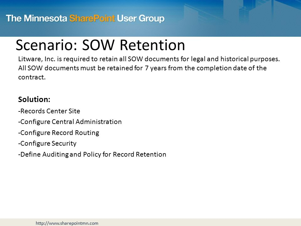 Scenario: SOW Retention Litware, Inc.