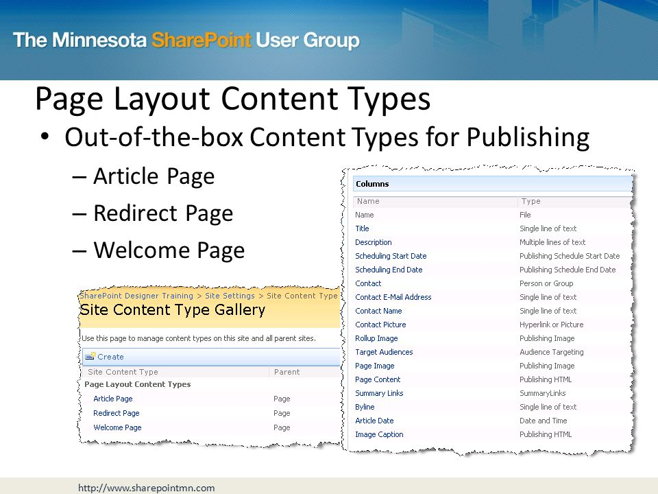 Page Layout Content Types Out-of-the-box Content Types for Publishing – Article Page – Redirect Page – Welcome Page