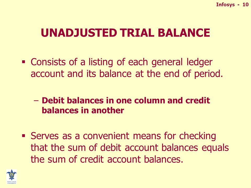 Infosys - 10 UNADJUSTED TRIAL BALANCE  Consists of a listing of each general ledger account and its balance at the end of period.