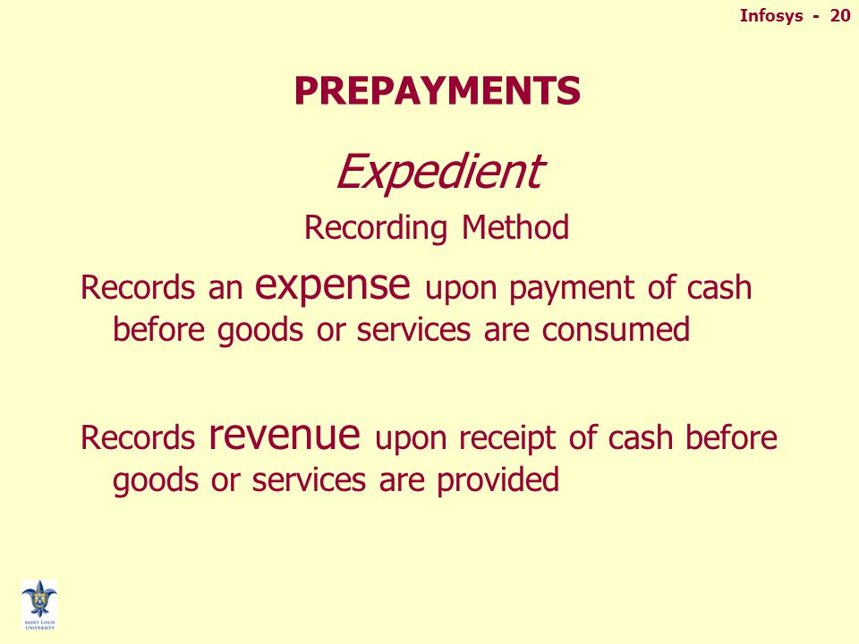 Infosys - 20 PREPAYMENTS Expedient Recording Method Records an expense upon payment of cash before goods or services are consumed Records revenue upon receipt of cash before goods or services are provided