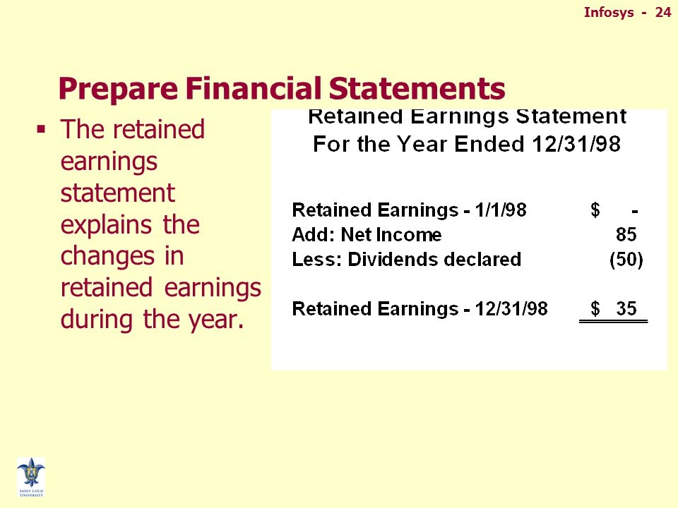 Infosys - 24 Prepare Financial Statements  The retained earnings statement explains the changes in retained earnings during the year.