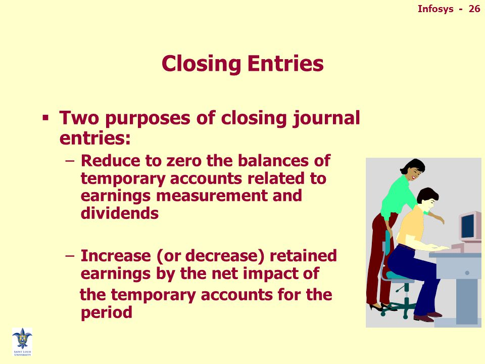 Infosys - 26 Closing Entries  Two purposes of closing journal entries: –Reduce to zero the balances of temporary accounts related to earnings measurement and dividends –Increase (or decrease) retained earnings by the net impact of the temporary accounts for the period