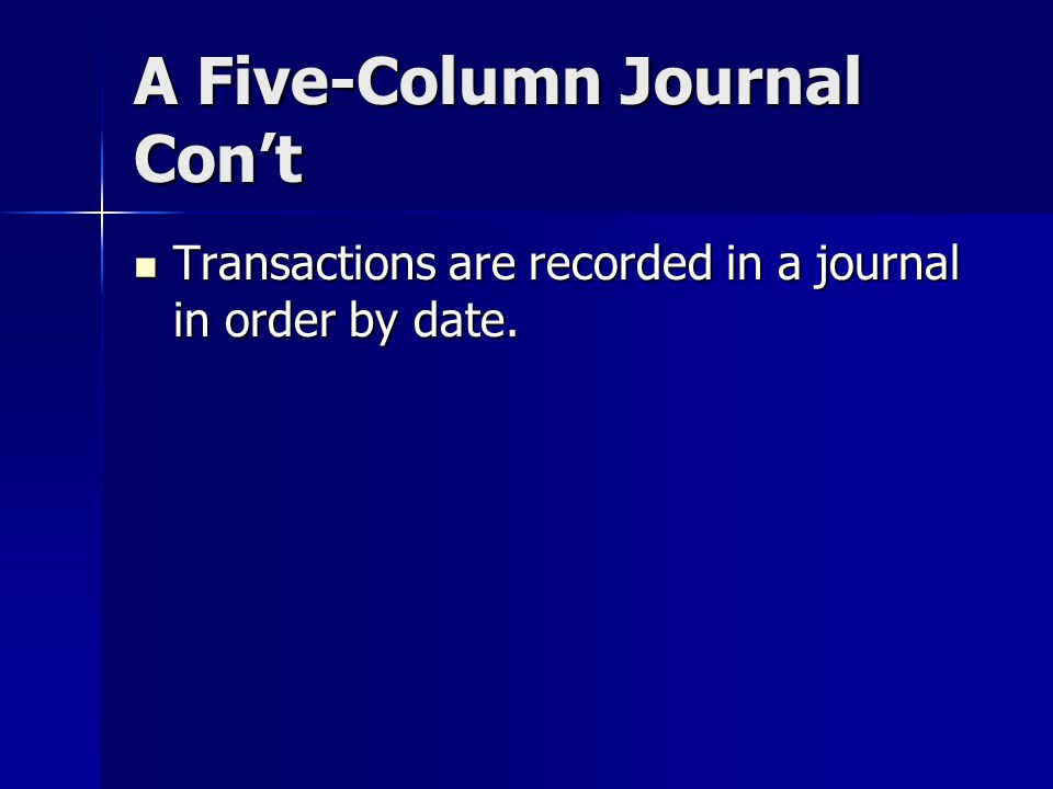 A Five-Column Journal Con't Transactions are recorded in a journal in order by date.
