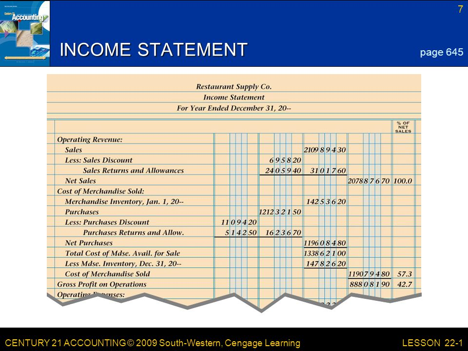 CENTURY 21 ACCOUNTING © 2009 South-Western, Cengage Learning 7 LESSON 22-1 INCOME STATEMENT page 645