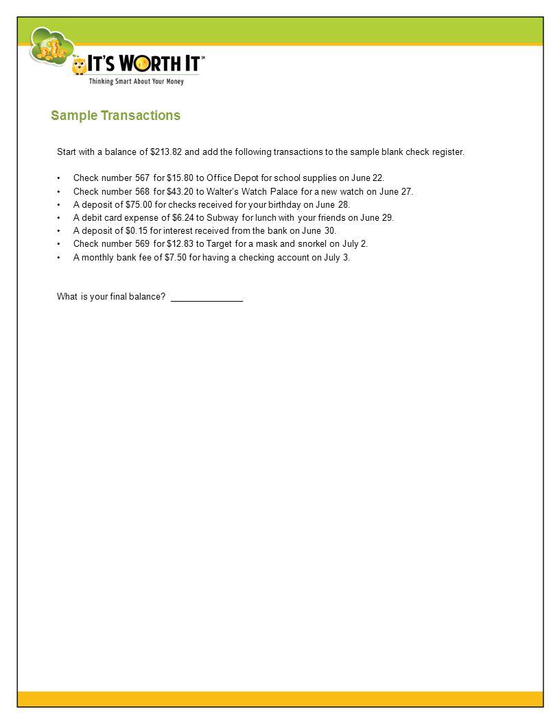 sample check register sample blank check register ppt download