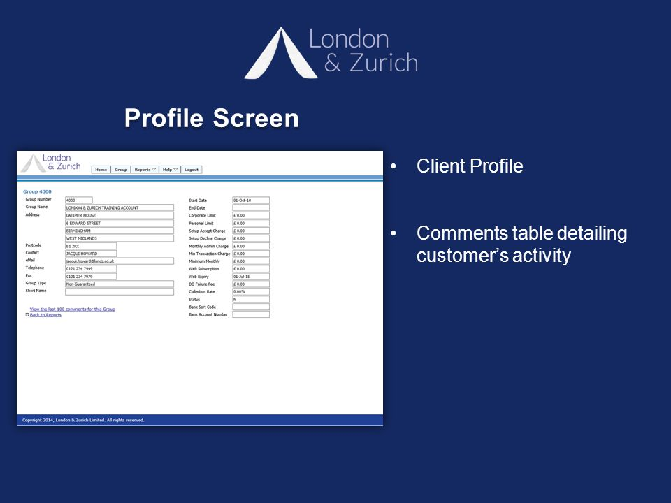 Client Profile Comments table detailing customer's activity Profile Screen