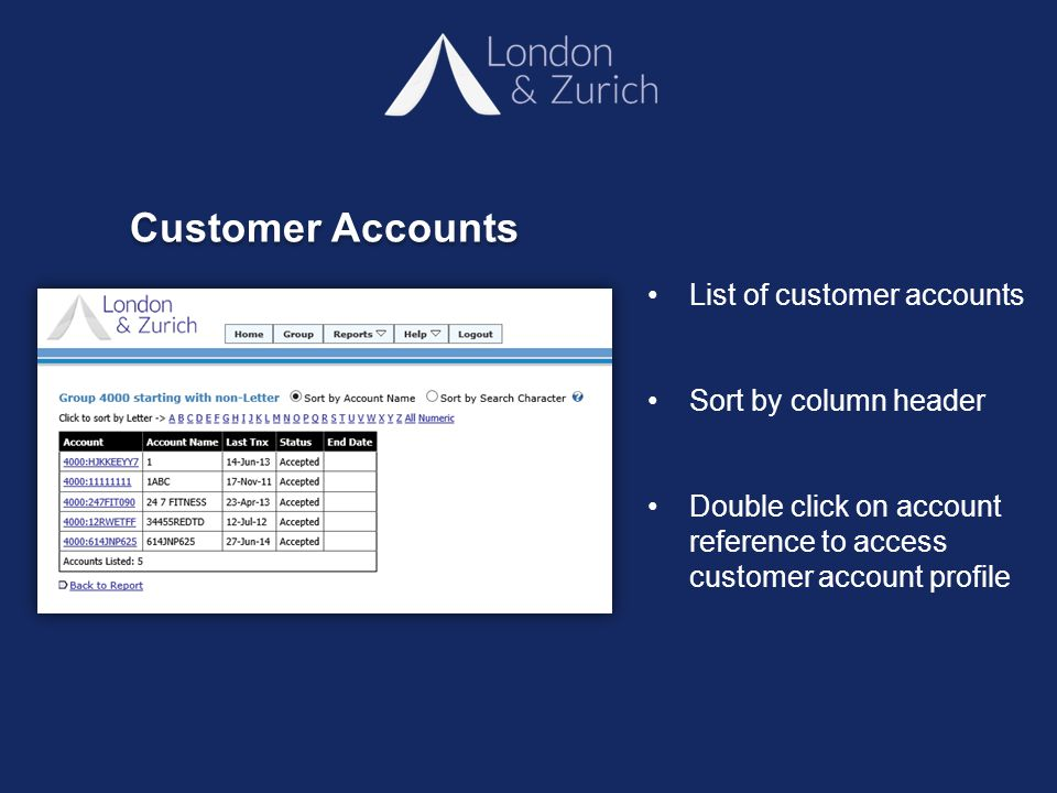 List of customer accounts Sort by column header Double click on account reference to access customer account profile Customer Accounts